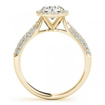 Diamond Halo Pave Sidestone Accented Engagement Ring 18k Yellow Gold (0.33ct)