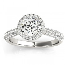 Diamond Halo Pave Sidestone Accented Engagement Ring Palladium (0.33ct)