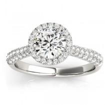 Diamond Halo Pave Sidestone Accented Engagement Ring Palladium (0.33ct)