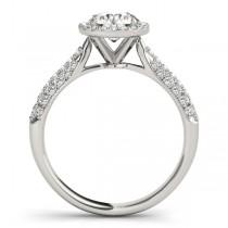 Diamond Halo Pave Sidestone Accented Engagement Ring Platinum (0.33ct)
