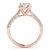 Round-Cut Square Halo Pave' Diamond Engagement Ring 18k Rose Gold (2.33ct)