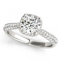 Round-Cut Square Halo Pave' Diamond Engagement Ring 18k White Gold (2.33ct)