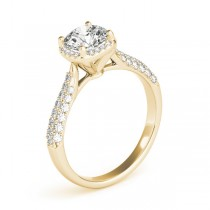 Round-Cut Square Halo Pave' Diamond Engagement Ring 18k Yellow Gold (2.33ct)