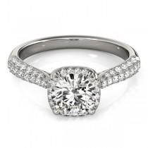 Round-Cut Square Halo Pave' Diamond Engagement Ring Palladium (2.33ct)