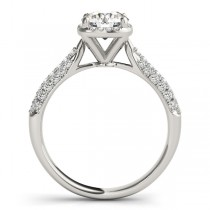 Round-Cut Square Halo Pave' Diamond Engagement Ring Platinum (2.33ct)