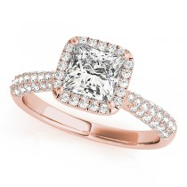 Princess-Cut Halo pave' Diamond Engagement Ring 14k Rose Gold (2.33ct)