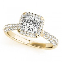 Princess-Cut Halo pave' Diamond Engagement Ring 14k Yellow Gold (2.33ct)