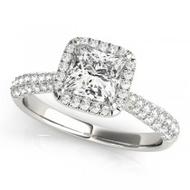 Princess-Cut Halo pave' Diamond Engagement Ring 18k White Gold (2.33ct)