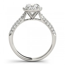 Oval-Cut Halo pave' Diamond Engagement Ring 18k White Gold (2.33ct)
