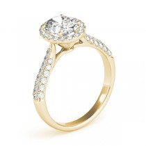 Oval-Cut Halo pave' Diamond Engagement Ring 18k Yellow Gold (2.33ct)