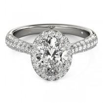 Oval-Cut Halo pave' Diamond Engagement Ring Platinum (2.33ct)