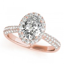 Oval-Cut Halo Pave Diamond Engagement Ring 18k Rose Gold (1.32ct)