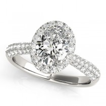 Oval-Cut Halo Pave Diamond Engagement Ring 18k White Gold (1.32ct)