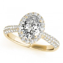 Oval-Cut Halo Pave Diamond Engagement Ring 18k Yellow Gold (1.32ct)