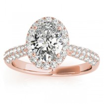 Oval-Cut Halo Pave Diamond Engagement Ring Setting 18k Rose Gold (0.34ct)