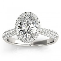 Oval-Cut Halo Pave Diamond Engagement Ring Setting 18k White Gold (0.34ct)