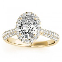 Oval-Cut Halo Pave Diamond Engagement Ring Setting 18k Yellow Gold (0.34ct)