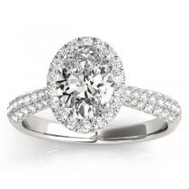 Oval-Cut Halo Pave Diamond Engagement Ring Setting Platinum (0.34ct)