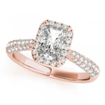Emerald-Cut Halo pave' Diamond Engagement Ring 14k Rose Gold (2.38ct)