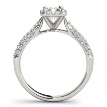 Emerald-Cut Halo pave' Diamond Engagement Ring 14k White Gold (2.38ct)