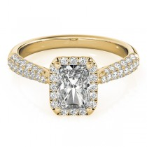 Emerald-Cut Halo pave' Diamond Engagement Ring 14k Yellow Gold (2.38ct)
