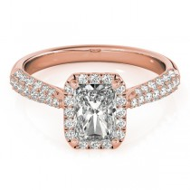 Emerald-Cut Halo pave' Diamond Engagement Ring 18k Rose Gold (2.38ct)
