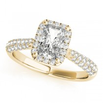 Emerald-Cut Halo pave' Diamond Engagement Ring 18k Yellow Gold (2.38ct)