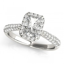 Emerald-Cut Halo pave' Diamond Engagement Ring Palladium (2.38ct)