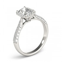 Emerald-Cut Halo pave' Diamond Engagement Ring Palladium (2.38ct)