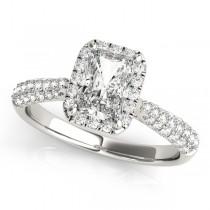 Emerald-Cut Halo pave' Diamond Engagement Ring Platinum (2.38ct)