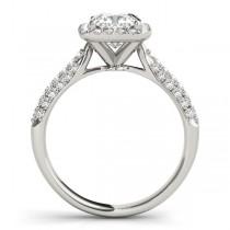 Cushion Cut Diamond Halo Engagement Ring 14k White Gold (2.33ct)