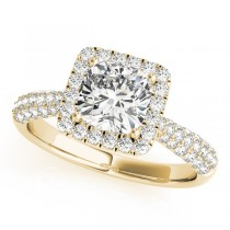 Cushion Cut Diamond Halo Engagement Ring 14k Yellow Gold (2.33ct)