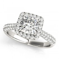 Cushion Cut Diamond Halo Engagement Ring Platinum (2.33ct)