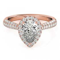 Pear-Cut Halo pave' Diamond Engagement Ring 18k Rose Gold (2.38ct)