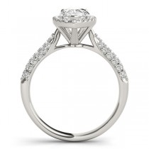 Pear-Cut Halo pave' Diamond Engagement Ring 18k White Gold (2.38ct)