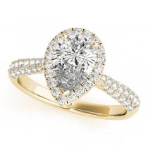 Pear-Cut Halo pave' Diamond Engagement Ring 18k Yellow Gold (2.38ct)