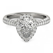 Pear-Cut Halo pave' Diamond Engagement Ring Palladium (2.38ct)