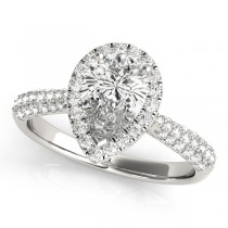Pear-Cut Halo pave' Diamond Engagement Ring Platinum (2.38ct)