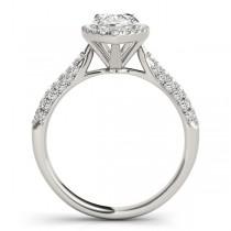 Pear-Cut Halo pave' Diamond Engagement Ring Platinum (2.38ct)