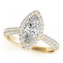 Diamond Marquise Halo Engagement Ring 14k Yellow Gold (2.00ct)