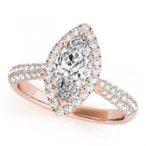 Diamond Marquise Halo Engagement Ring 18k Rose Gold (2.00ct)