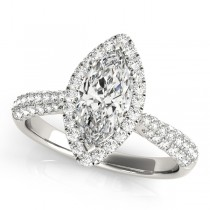 Diamond Marquise Halo Engagement Ring 18k White Gold (2.00ct)