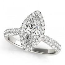 Diamond Marquise Halo Engagement Ring Palladium (2.00ct)