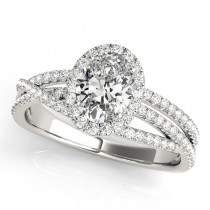 Oval-Cut Halo Triple Row Diamond Engagement Ring 14k White Gold (1.38ct)