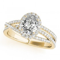 Oval-Cut Halo Triple Row Diamond Engagement Ring 14k Yellow Gold (1.38ct)