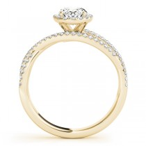 Oval-Cut Halo Triple Row Diamond Engagement Ring 14k Yellow Gold (1.38ct)