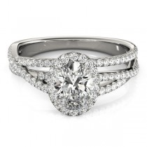 Oval-Cut Halo Triple Row Diamond Engagement Ring Platinum (1.38ct)