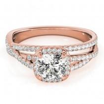 Diamond Halo Triple Row Twist Engagement Ring 14K Rose Gold (0.36ct)