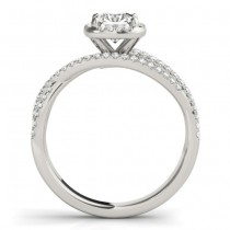 Diamond Halo Triple Row Twist Engagement Ring 14K White Gold (0.36ct)