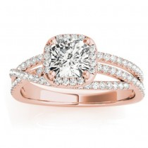 Diamond Halo Triple Row Twist Engagement Ring 18K Rose Gold (0.36ct)